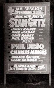 Stan Getz Birdland billboard 1950